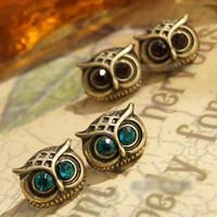 E234 small accessories fashion vintage owl stud earring female ear buckle earrings