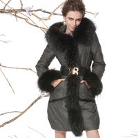 Fabric luxury royalcat slim fashion medium-long raccoon fur down coat