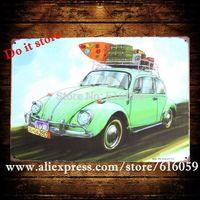 [ Do it ] Vintage Green Car Painting Wholesale Retro Pub Metal Signs home Decor 20*30 CM B-271