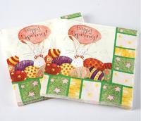 [4 packs] 100% virgin wood pulp fashion party paper napkins happy spring printed napkin wedding napkin cocktail napkins -4NC3412