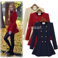 Autumn&Winter casacos femininos dresses Woolen coat Double-breasted coat Woman Jacket long-sleeve Coat outerwear overcoat