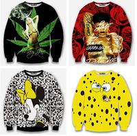 2014 New fashion 3D hoodies Sexy stars/Cartoon image printing  High quality thin Round collar Sweatshirt  Asian size