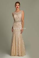 Top Quality Lace With Beading New Fashionable Sleeveless V-back O-neck Evening Dress vestido festa formatura Evening Dresses