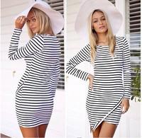 New arrival Long Sleeve Slim Hip Bodycon Dresses Women Work Wear OL Strip Dress Vestidos Casual Autumn Dress VC0034
