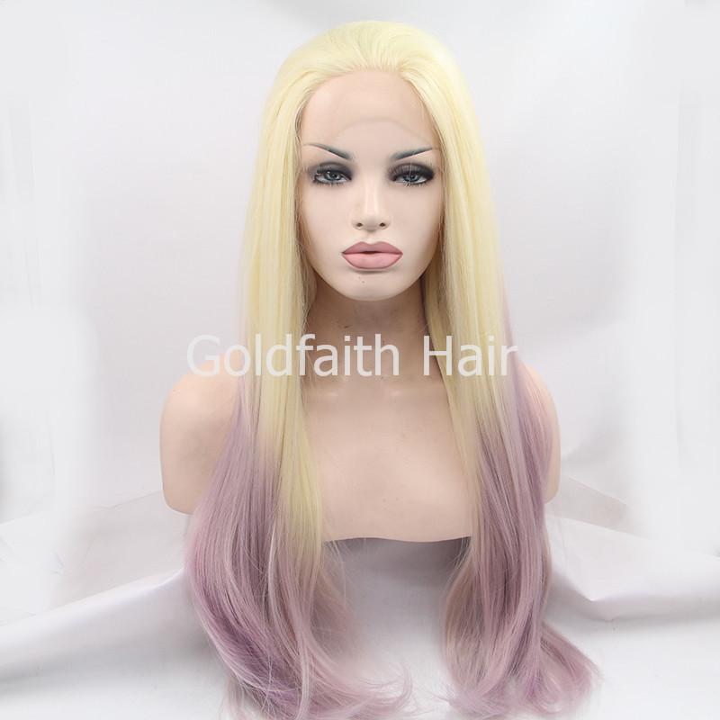 Sf2 pas cher longue Ombre perruque blonde violet synthétique perruque de cheveux Kanekalon droite naturel perruque deux tons avant de lacet pour les femmes blanches(China (Mainland))