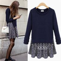 XL-5XL women plus size loose dress European style flower printed kintted dress + sweater 2014 women Winter Autumn warm clothing