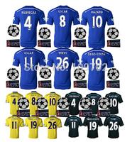 2015 Champions League HAZARD DIEGO COSTA DROGBA OSCAR FABREGAS Soccer Jersey 14 15 Blue Black Yellow Football shirt UCL+Respect