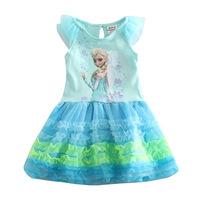 New 2014 Brand Frozen Girls Summer Dress Cotton Short-Sleeved Frozen Princess Dress Anna&Elsa Baby Girl Dress Free Shipping
