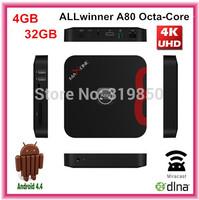 Octa Core ALLwinner A80 Android 4.4 Smart tv box Player 4GB RAM 32GB 1080P Wifi XBMC Miracast DLNA Intelligent HD TV Player