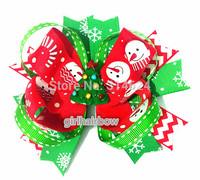 "Factory Direct 5"" Christmas Hair Bow Snow Man & Flake snow Hair Bow YM-B068-31"