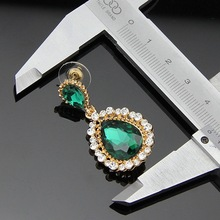 Popular jewelry accessories green Earrings crystal gems sexy fashion star gold drop earring for women