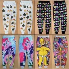 2014 new fashion 3D print cartoon emoji weed/Simpsons/Little Pony joggers pants for men/women sport jogging sweatpants(China (Mainland))
