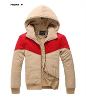 New 2014 Winter men down coat / hooded thickening with velvet pacthing design outdoor jackets / 5 Color & Free shipping