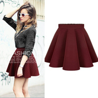 Autumn New Fashion All-match Skirts Womens High Waisted Ball Gown Umbrella Skirt Black Wine Red Black Pleated Skirt 3150# S-XL