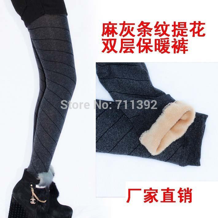 Korean version of the super-elastic jacquard dark gray diagonal stripes test brushed brushed warm pants leggings warm pants(China (Mainland))