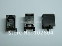 Black 4P4C Without flange Side entry Modular Network PCB Jack Connector 100 pcs per lot Hot Sale