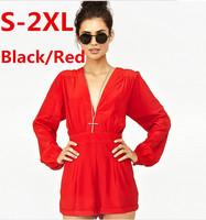 New Deep V Neck jumpsuit 2014 Sexy High Waist Chiffon macacao feminino Plus Size Overalls S-2XL