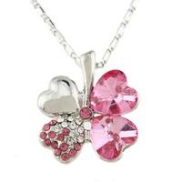 Silver Plated Crystal Peach Heart Lucky Four Leaf Clover Pendant Necklace 64150