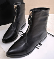 Plus Size 40 Autumn & Winter 's Women's Genuine Leather Solid Boots Pointed Toe Snow Boots Flat Rubber Sole Ankle Fashion boots