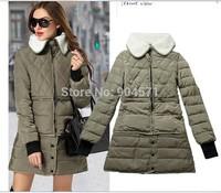 2014  Fashion Winter Women Cotton Detachable Wool Fur Thicken Warm Down Jacket Straight Overcoat Peter Pan Collar Casual Outwear