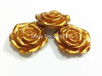 Newest !!  42MM 50pcs/lot  Gold Metallic  Resin Flower Beads