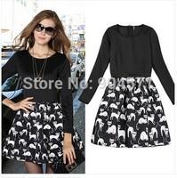 2014 New Fashion Winter Women Dress Print Design Cute A-Line Mini O-Neck Patchwork Slim Back Zipper Slim Casual Dresses