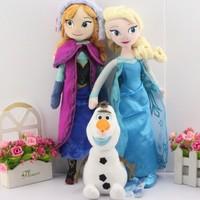 3pcs/set 40CM Frozen Plush Toys  olaf plush  + Princess Elsa plush Anna Plush Doll Brinquedos Kids