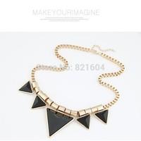 2014 Fashion Necklace For Women Enamel Triangle Geometric Bib Collar Shourouk Necklace Party Anniversary Necklaces Pendants