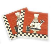 [4 packs] 100% virgin wood pulp creative party paper napkins printed napkin festival napkins fat chef daily napkins -4NC3425