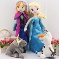 4pcs/lot 40CM Princess Elsa Anna Toy olaf plush +sven milu plush + Princess Elsa plush Anna Plush Doll Brinquedos Free Shipping