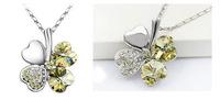 Silver Plated Crystal Peach Heart Lucky Four Leaf Clover Pendant Necklace 64154