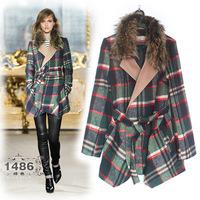 Best Grade New Fashion Designer Style Winter Women Warm Fur Collar Plaid Print Woolen Outerwear OL Lady Office Coat Freeship