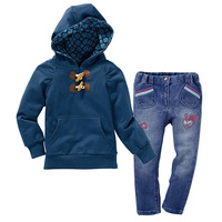 Retal autumn casual girls brand clothing sets girl hooded coat + jeans pants Sets kids autumn clothing set baby suit