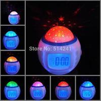 New Arrive Beautiful bedroom Sky Star Night Light Projector Lamp Alarm Clock with music