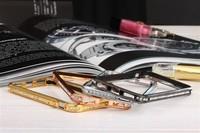 Luxury Brand  Rhinestone Bumper Ultra Thin Slim Aluminium MetalProtective Frame Cover Case For iPhone 5 5G 5S