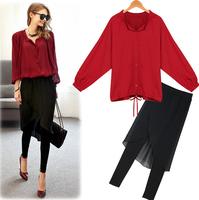 2014 New Fashion Womens Clothing Sets Autumn Clothing Casual Red Chiffon Batwing Top + Irregular Black Skirt pants