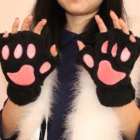 cute cat paw mitts warm thick wool gloves female cartoon Winnie the palm love winter half finger gloves