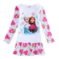 1PCS Frozen Dress Elsa & Anna Spring Autumn Dress for Girl 2014 New Hot Princess Dresses Brand Girls Dress Children Clothing