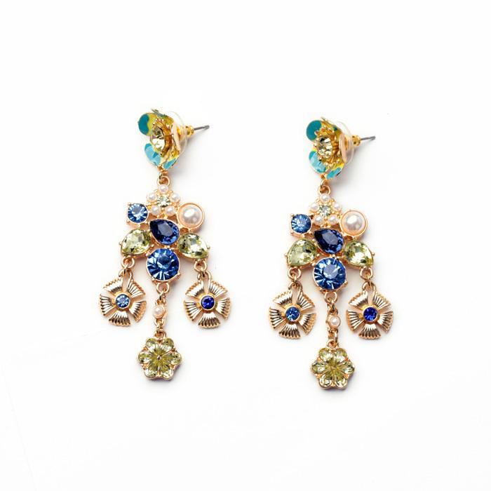 Romantic Italian Earrings With Enamel Tassel Flower For Best Friend(China (Mainland))