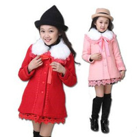 Reatil Children's winter coat Children's Han edition coat collars long girl in red cloth Girl's Turn-down collar jacket FF327