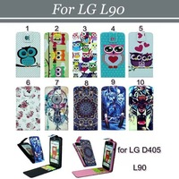 10pcs/lot Free Shipping Magnetic Flip Dreamcatcher Flower Owl Wolf Tiger 2 Card Slots PU Leather Case for LG L90
