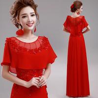 Red bridal formal dress design long ruffle sleeve evening dress long design Evening Dresses A508#