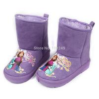 Girls Winter Snow Boots Children Warm Shoes Purple Frozen Princess Anna Elsa Snowflake Slip Resistant Snow Boots Christmas Gift