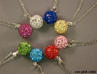 hotsale!mixed can pick color Micro Pave CZ clay ball women wedding ball Crystal Pendant Silver Plated Chain Shamballa Necklace
