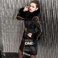 black lac fox fuer design slim long down coat female 999