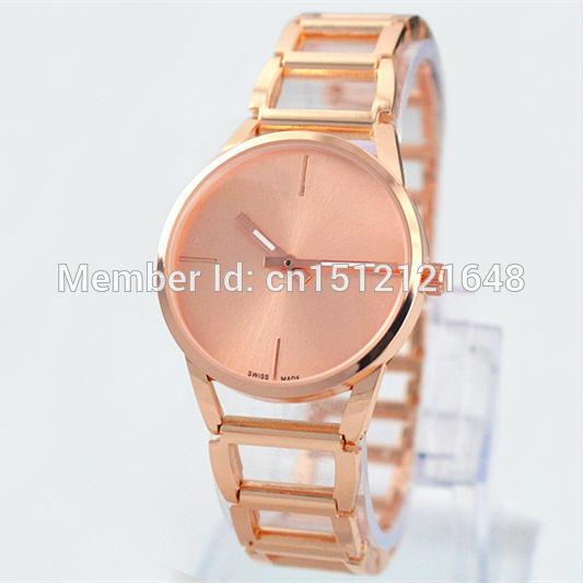New Model A piece lot Top brand women watch rose gold silver steel band Lady Wristwatch