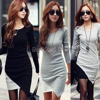 Hot New Women Elegant Long Sleeve Patchwork Fold Dress Bodycon Hip Irregular Stitching Dress Casual Lady Work Wear B22 CB032420