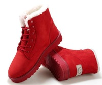 2014 Winter New Women Flat Heel Suede Leather Artificial Short Plush Ankle Snow Boots Cotton Shoes 4 Colors Size 36-40