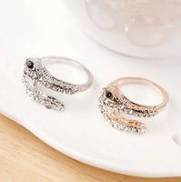 Promotion! Wholesale! Fashion lady women jewelry punk exaggerated full sparkling rhinestone snake alloy finger rings SR350