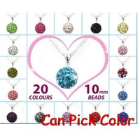 wholesale!mixed Fashion Rhinestones Silver Plated women men disco ball CZ Crystal ball Shamballa Necklace Pendant Chain